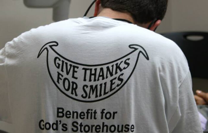 Back view of Give Thanks For Smiles T-shirt